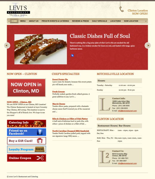 The restaurant's new website